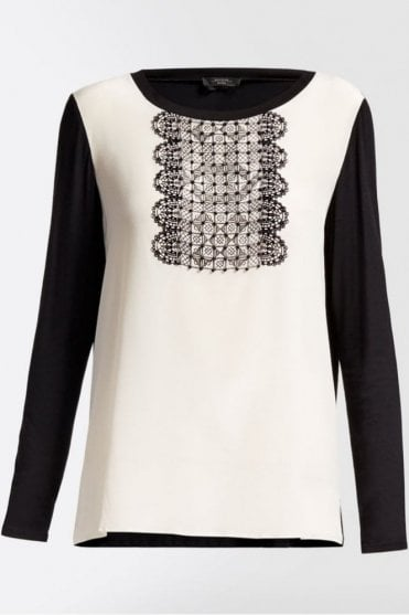 Pleiadi Silk and Jersey Knit Shirt in White/Black