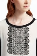 Weekend MaxMara Pleiadi Silk and Jersey Knit Shirt in White/Black