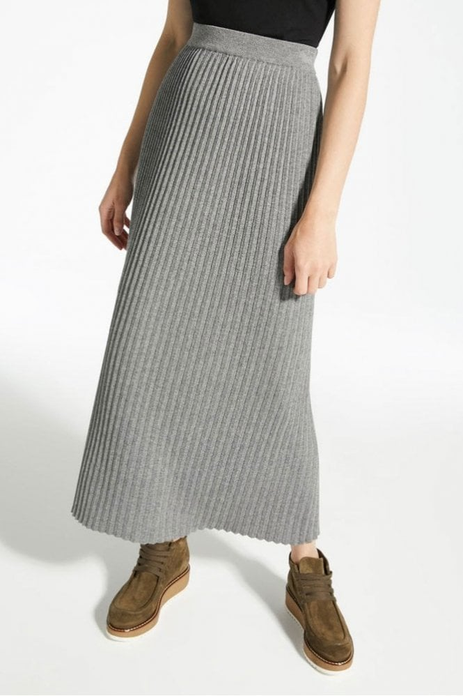 Weekend MaxMara Renna Wool, Viscose and Cashmere Skirt in Medium Grey