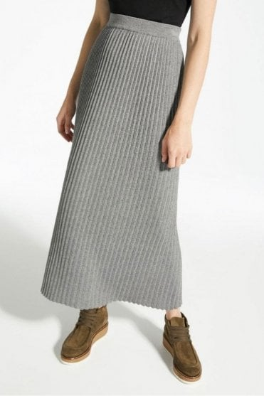 Renna Wool, Viscose and Cashmere Skirt in Medium Grey