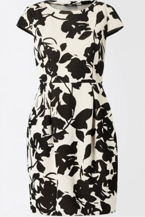 Sabrina Patterned Neoprene Tulip Dress in Black