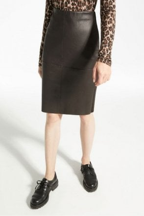 Salima Stretch Nappa Leather Skirt in Coffee