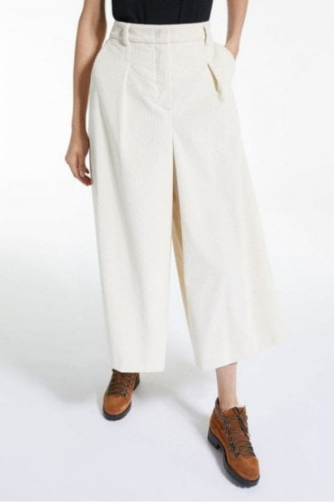 Tivoli Cotton Velvet Trousers in White