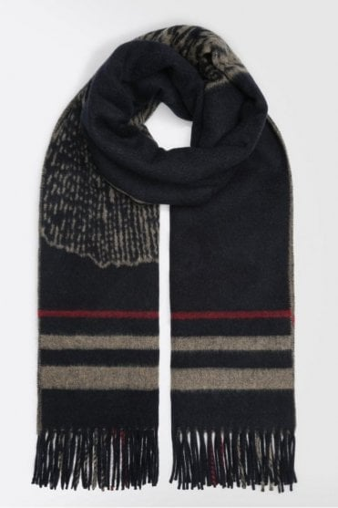 Wool Scarf with Jacquard Design