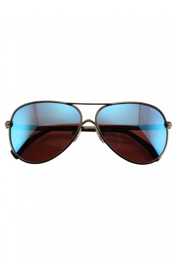 Wildfox Airfox 2 Deluxe Sunglasses in Gun Metal/Blue