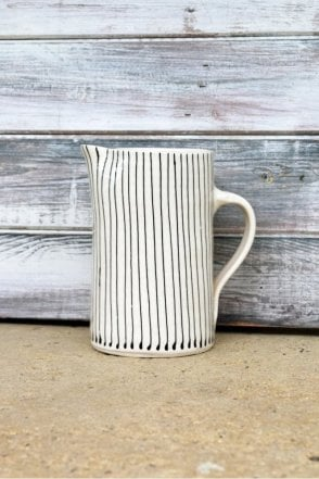 Skinny Thin Stripe Jug in Black