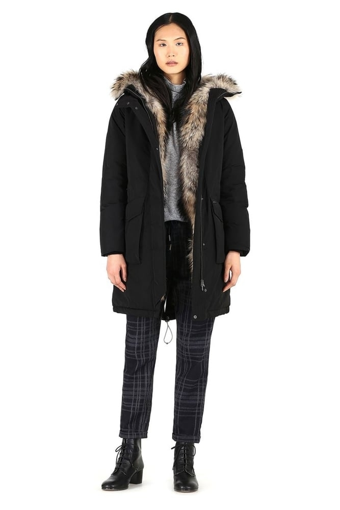 woolrich w s w 39 s military parka in black at sue parkinson. Black Bedroom Furniture Sets. Home Design Ideas